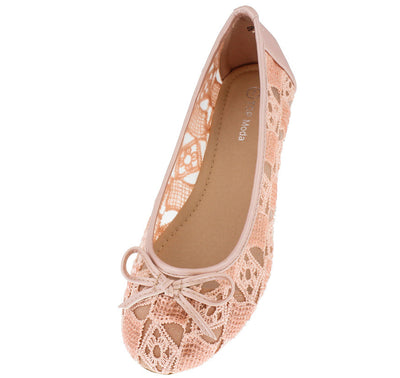 Spot42 Coral Sheer Lace Bow Toe Ballet Flat - Wholesale Fashion Shoes