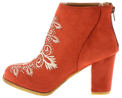 Springfield Red Almond Toe Embroidered Ankle Boot - Wholesale Fashion Shoes