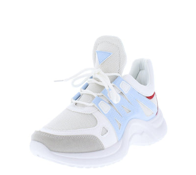 Standout01 Baby Blue Multi Lace Up Chunky Sneaker Flat - Wholesale Fashion Shoes
