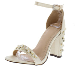 KAYLEE178 NUDE SATIN PEARL STUDDED OPEN TOE ANKLE STRAP HEEL - Wholesale Fashion Shoes