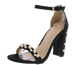 KAYLEE178 BLACK SATIN PEARL STUDDED OPEN TOE ANKLE STRAP HEEL - Wholesale Fashion Shoes