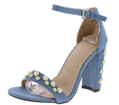 KAYLEE178 DENIM PEARL STUDDED OPEN TOE ANKLE STRAP HEEL - Wholesale Fashion Shoes