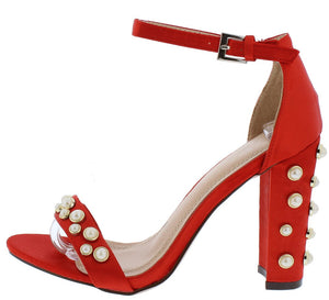 144b782dfae8 Kaylee178 Red Satin Pearl Studded Open Toe Ankle Strap Heel - Wholesale  Fashion Shoes