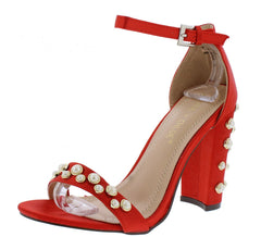 KAYLEE178 RED SATIN PEARL STUDDED OPEN TOE ANKLE STRAP HEEL - Wholesale Fashion Shoes