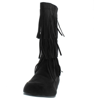 Starcy88a Black 3 Tier Fringe Mid Calf Boot - Wholesale Fashion Shoes