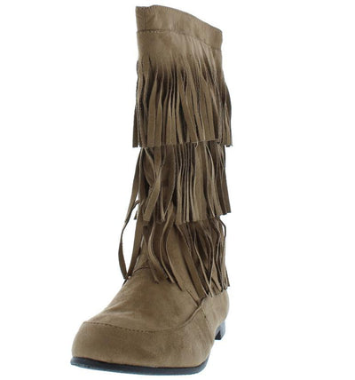 Starcy88a Taupe 3 Tier Fringe Mid Calf Boot - Wholesale Fashion Shoes