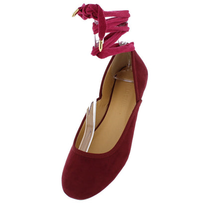 Starla317 Burgundy Ankle Wrap Gold Metal Ballet Flat - Wholesale Fashion Shoes