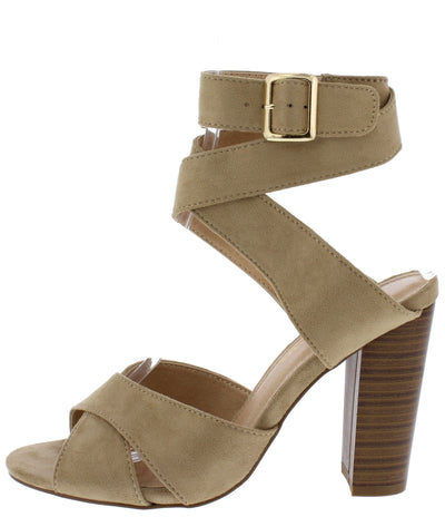 Starla Taupe Suede Cross Strap Open Toe Ankle Wrap Heel - Wholesale Fashion Shoes