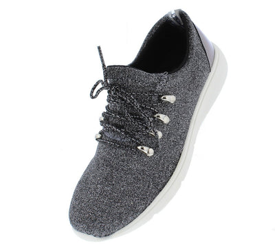 Autumn175 Pewter Glitter Lace Up Tapered Sneaker Flat - Wholesale Fashion Shoes