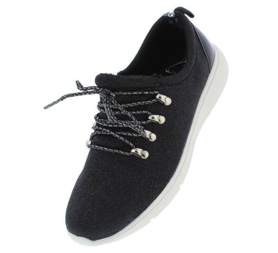 Autumn175 Black Glitter Lace Up Tapered Sneaker Flat - Wholesale Fashion Shoes