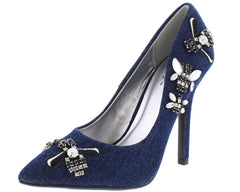 STARTS DARK BLUE DENIM WOMEN'S HEEL - Wholesale Fashion Shoes