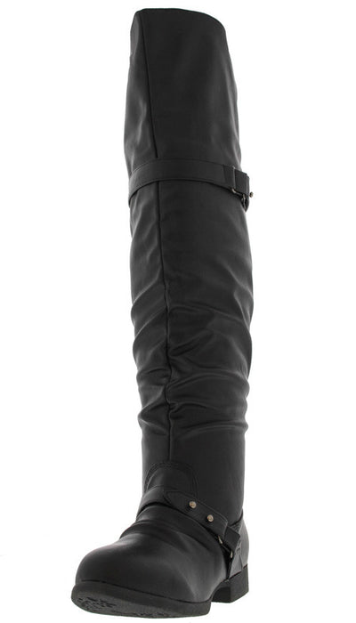 Step22 Black Slouchy Over the Knee Riding Boot - Wholesale Fashion Shoes