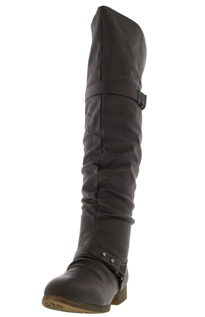 Step22 Brown Slouchy Over the Knee Riding Boot - Wholesale Fashion Shoes