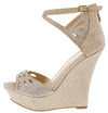 Stephy37 Champagne Women's Wedge - Wholesale Fashion Shoes