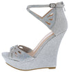 Stephy37 Silver Women's Wedge - Wholesale Fashion Shoes