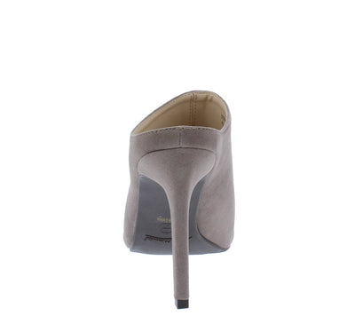 Steppup11 Taupe Pointed Toe Stiletto Mule Heel - Wholesale Fashion Shoes