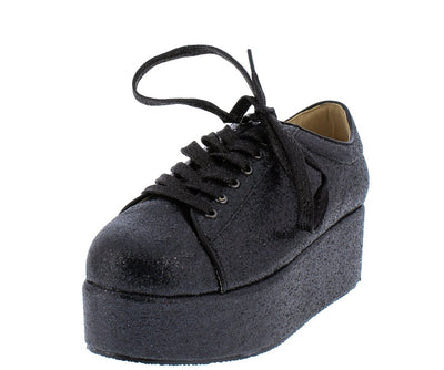 Makayla072 Black Glitter Lace Up Platform Flat - Wholesale Fashion Shoes