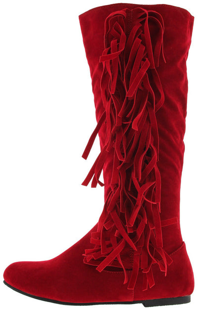 Stevie20 Red Fringe Side Flat Boot - Wholesale Fashion Shoes