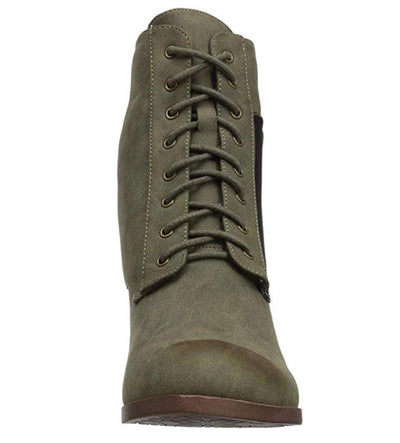 Violet080 Moss Distressed Lace Up Zip Camo Panel Combat Boot - Wholesale Fashion Shoes