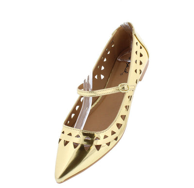 Strike17x Gold Metallic Laser Cut Pointed Toe Flat - Wholesale Fashion Shoes