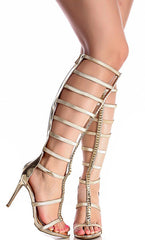 SUGARLOVE55M GOLD METALLIC CRINKLE GLADIATOR BOOT - Wholesale Fashion Shoes