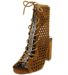 SUNDAZE MOCHA OPEN TOE MULTI CIRCLE CUT OUT LACE UP HEEL - Wholesale Fashion Shoes - 2