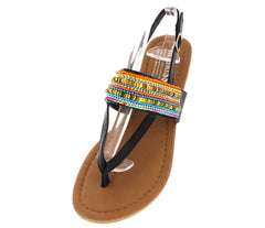 SUNNYFEET BLACK MULTI COLORED BEADED SANDAL - Wholesale Fashion Shoes