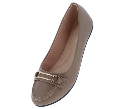 Supple14 Taupe Round Toe Stitch Gold Bar Loafer Ballet Flat - Wholesale Fashion Shoes