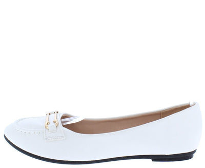 Supple14 White Round Toe Stitch Gold Bar Loafer Ballet Flat - Wholesale Fashion Shoes