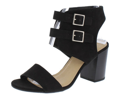Surrells Black Open Toe Rear Cut Out Double Buckle Heel - Wholesale Fashion Shoes