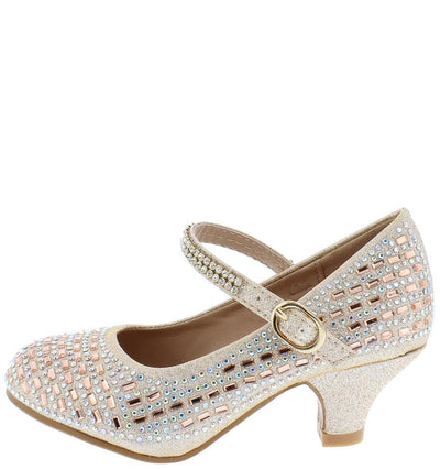 Susie001 Champagne Sparkle Embellished Kids Low Heel - Wholesale Fashion Shoes