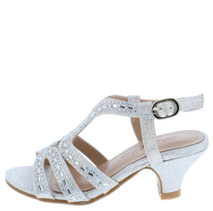 ec5126faf9a Susie09 Silver Sparkle Strappy Open Toe Slingback Kids Low Heel - Wholesale  Fashion Shoes