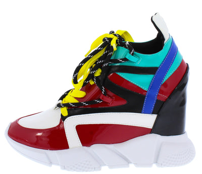 Red Multi Lace Up Wedge Sneaker Boots