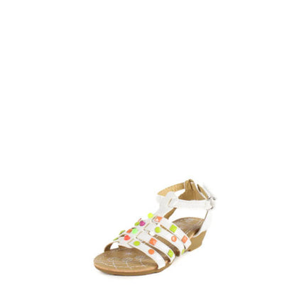 Suzy8a White Gladiator Studded Infant Sandal - Wholesale Fashion Shoes