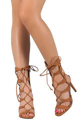 SWAGGER07 TAN STRAPPY GLADIATOR LACE UP STILETTO HEEL - Wholesale Fashion Shoes