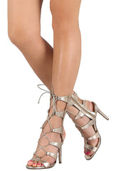 SWAGGER07 CHAMPAGNE STRAPPY GLADIATOR LACE UP STILETTO HEEL - Wholesale Fashion Shoes