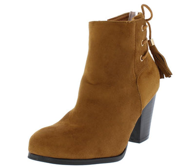 Swift05 Cognac Tassel Gold Accent Slanted Heel Ankle Boot - Wholesale Fashion Shoes