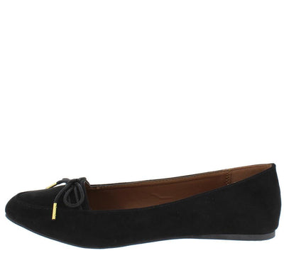 Swift166 Black Su Gold Tipped Bow Almond Toe Loafer Flat - Wholesale Fashion Shoes