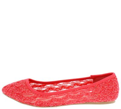 Swift63 Coral Lace Slide on Flat - Wholesale Fashion Shoes