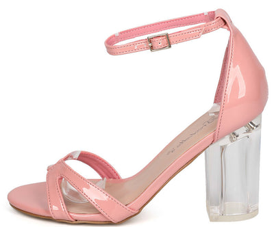 Tango05 Pink Patent Strappy Open Toe Lucite Chunky Heel - Wholesale Fashion Shoes