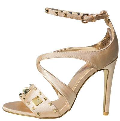Tanya Gold Studded Open Toe X Strap Stiletto Heel - Wholesale Fashion Shoes