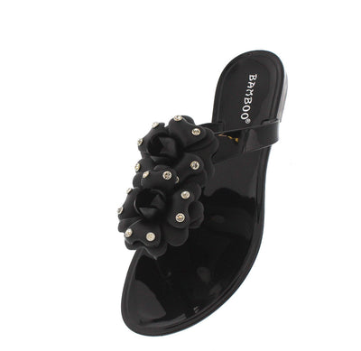 Tattoo02 Black Crystal Flower Sandal - Wholesale Fashion Shoes