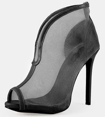 AALIYAH218 BLACK MESH PEEP TOE STILETTO HEEL - Wholesale Fashion Shoes