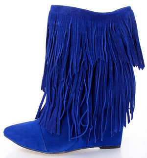 672b2db9401 Avery Cobalt Blue Pointed Toe Multi Fringe Wedge Ankle Boot - Wholesale  Fashion Shoes