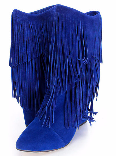 Avery Cobalt Blue Pointed Toe Multi Fringe Wedge Ankle Boot - Wholesale Fashion Shoes