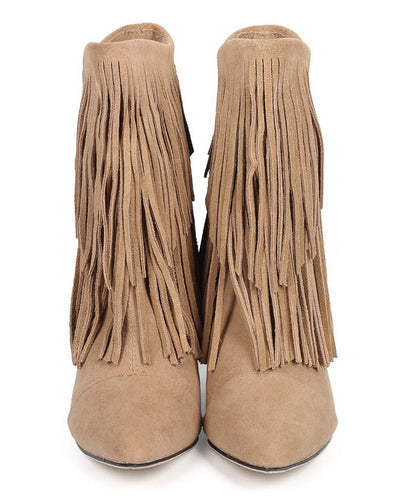 Avery Light Taupe Pointed Toe Multi Fringe Wedge Ankle Boot - Wholesale Fashion Shoes