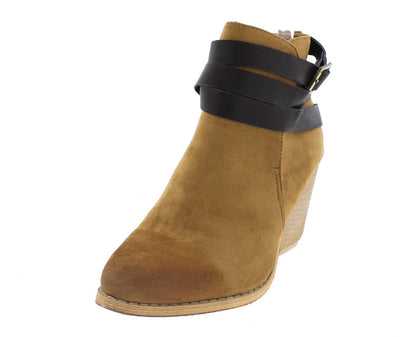 Tess03 Cognac Wrap Around Strap Chunky Heel Boot - Wholesale Fashion Shoes