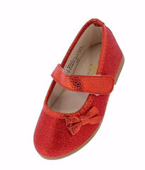 TLILI4KM RED SPARKLE BOW MARY JANE INFANT FLAT - Wholesale Fashion Shoes