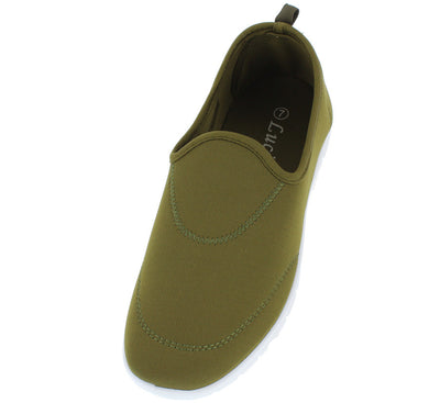 Tm008 Olive Stretch Slip on Athletic Flat - Wholesale Fashion Shoes