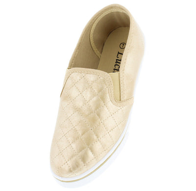 Tm031 Gold Quilted Slip on Sneaker Flat - Wholesale Fashion Shoes
